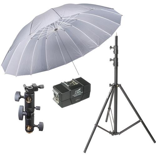 Impact 7' Parabolic Umbrella (Silver) With Light Stand UPS-7KS
