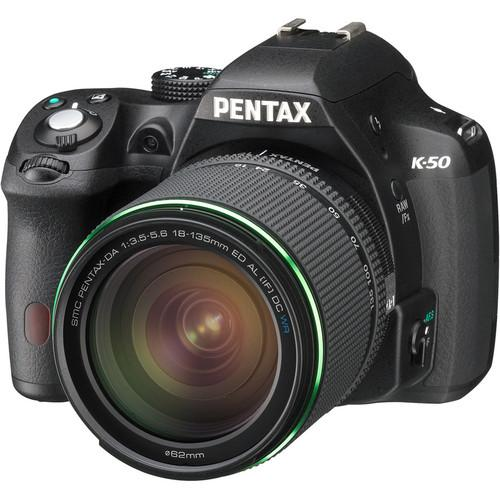 Pentax K-50 DSLR Camera with 18-135mm Lens (Black) 10916