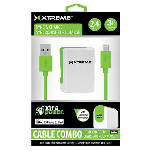 Xtreme Cables 2.4 Amp Home Charger with 8-pin Cable, 3' 82462