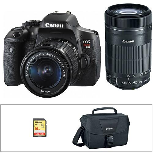 Canon EOS Rebel T6i DSLR Camera with 18-135mm and 55-250mm