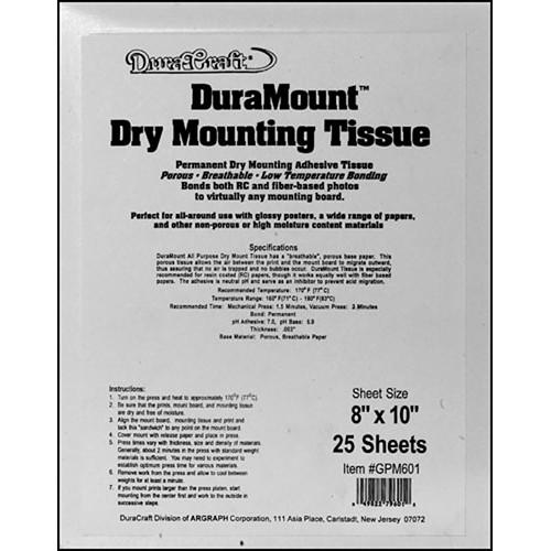 Duracraft Dry Mount Tissue - 8 x 10