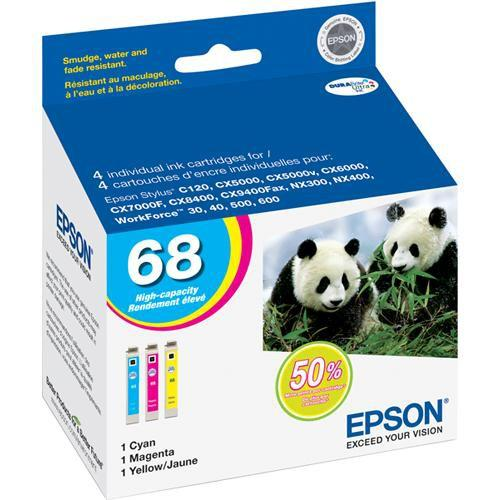 Epson 68 High-Capacity Multi-Pack Color DURABrite Ultra T068520