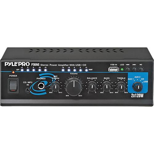 Pyle Pro PTAU45 Mini 120 Watt x 2 Stereo Power Amplifier PTAU45