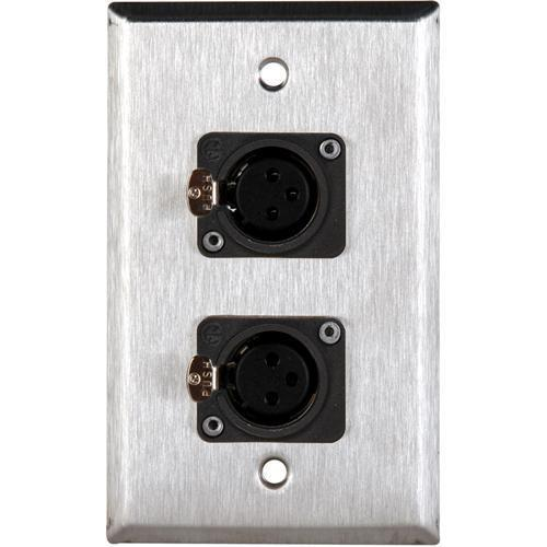 TecNec WPL-1116/B 1-Gang Black Wall Plate with 2 WPL-1116/B