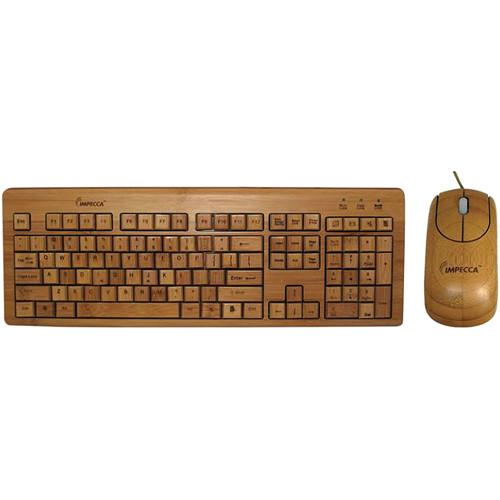 Impecca Bamboo Custom Carved Designer Keyboard and Mouse KBB500C