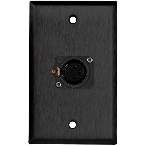 TecNec WPL-1115B/B Black Wall Plate with 1 Neutrik WPL-1115B/B