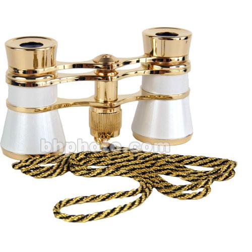 LaScala Optics 3x25 Carmen Opera Glasses (White / Gold) LSC09