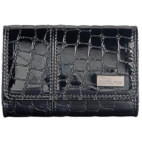 Nikon Coolpix S Series Faux Crocodile Skin Case (Black) 11747