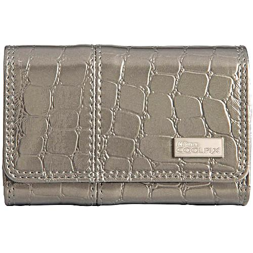Nikon Coolpix S Series Faux Crocodile Skin Case (Silver) 11748