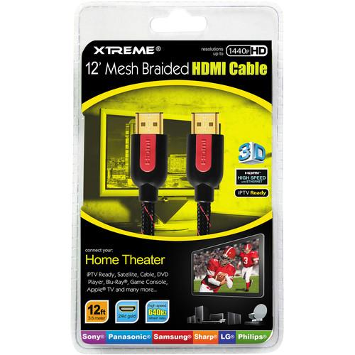 Xtreme Cables 12' High-Speed Braided HDMI Cable 84112