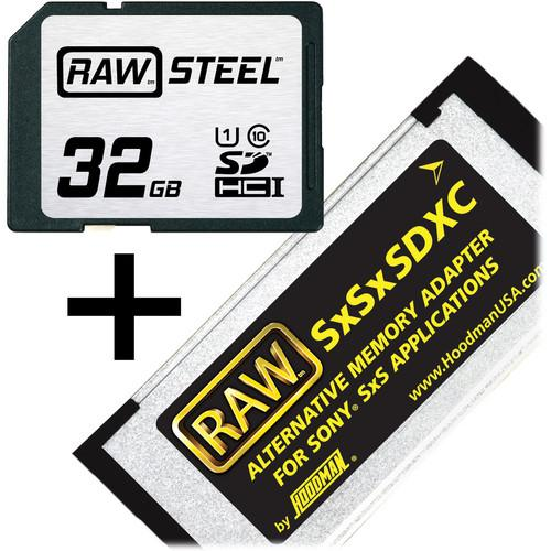 Hoodman 32GB SDHC Memory Card RAW STEEL Class 10 SXSKIT32U1