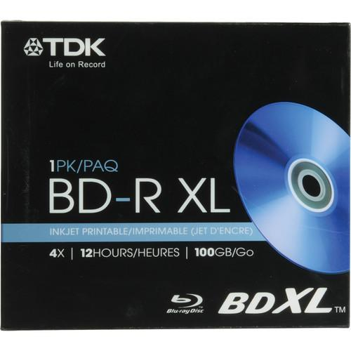 TDK BD-R XL 100GB Inkjet Printable Disc (With Jewel Case) 61928