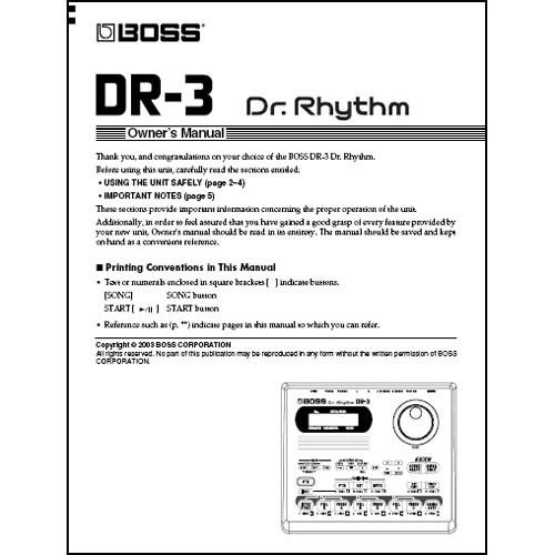 BOSS DVD Manual ONLY for DR-3 - DR. RHYTHM Drum Machine DR-3DVM