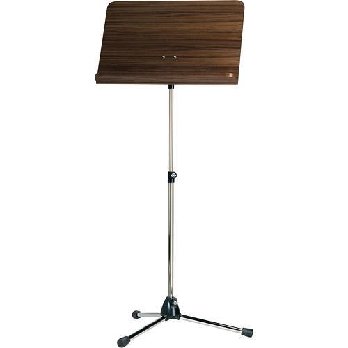 K&M 118/1 Orchestra Music Stand with Walnut Desk 11811-000-55
