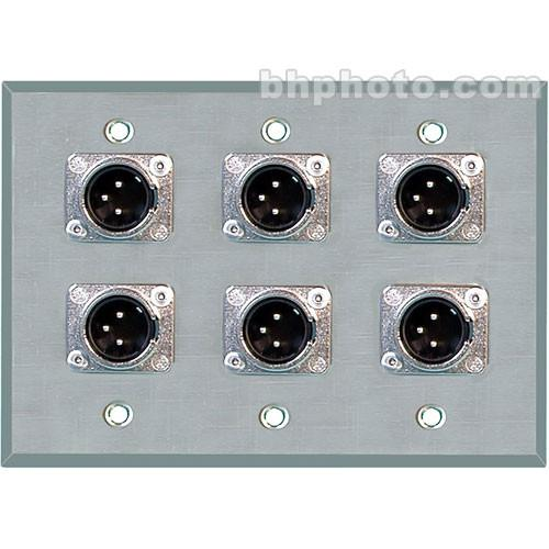 TecNec WPL-3103 Wall Plate with 6 3-Pin XLR Connectors WPL-3103