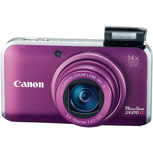 Used Canon PowerShot SX210 IS Digital Camera (Purple) 4247B022AA