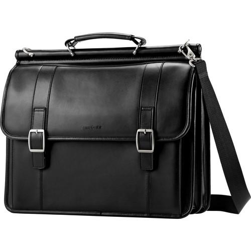 Samsonite Leather Dowel Flapover Business Case (Black)