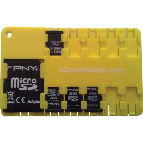 SD Card Holder microSD 10 Slot Cardholder (Yellow) 040110Y