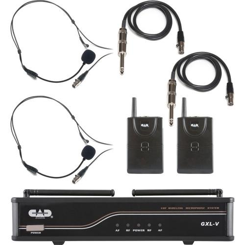CAD VHF Dual Channel 2 Bodypack Wireless Microphone and GXLVBB-J