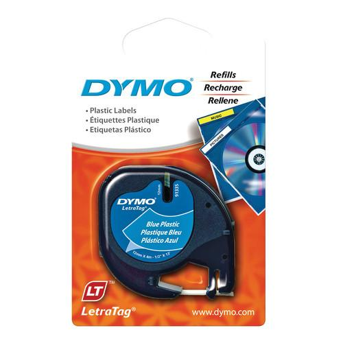 Dymo Plastic LetraTag Tape (Black on Blue, 1/2