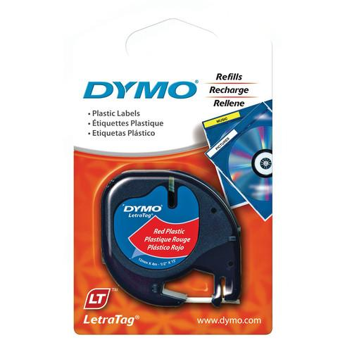 Dymo Plastic LetraTag Tape (Black on Red, 1/2