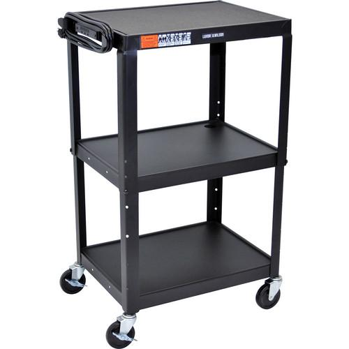 H. Wilson W42A Adjustable Steel AV Cart with 3 Shelves W42AC
