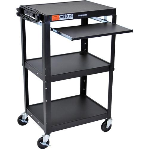 H. Wilson W42AEKB Adjustable Height Steel A/V Cart W42AEKB