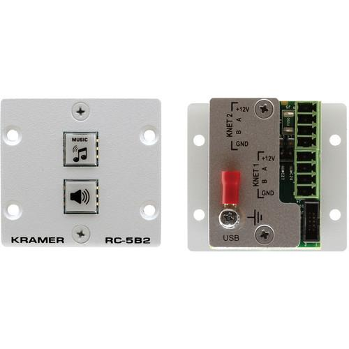 Kramer RC-5B2 Wall Plate Insert 2-Button Auxiliary RC-5B2