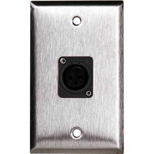 TecNec WPL-1115B Black Wall Plate with 1 Neutrik WPL-1115B