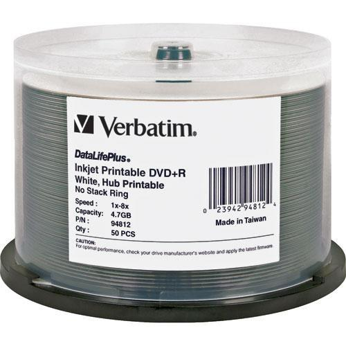 Verbatim DVD R 4.7GB, 8x, White Inkjet Disc (50) 94812