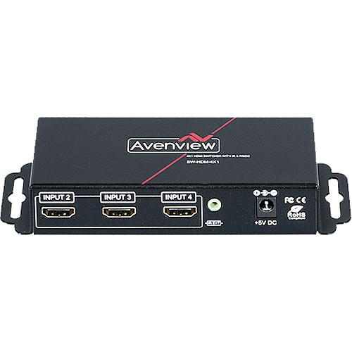 Avenview 4x1 HDMI Switcher with IR & RS232 Control