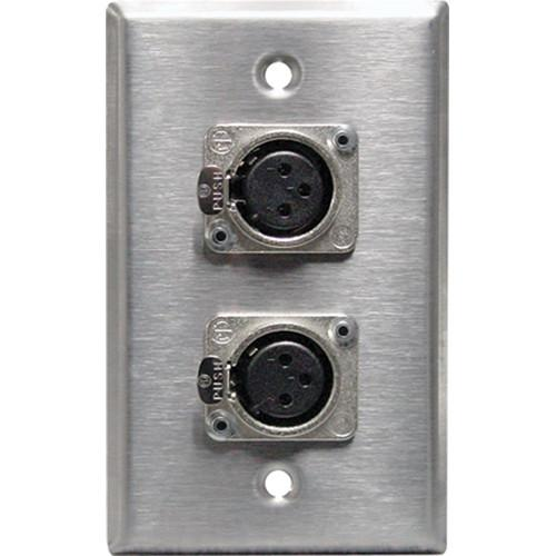RapcoHorizon SP-2DFN XLR Single Gang Wall Plate with 2 SP-2DFN