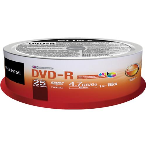 Sony DVD-R 4.7GB Recordable Printable Media 25DMR47PP