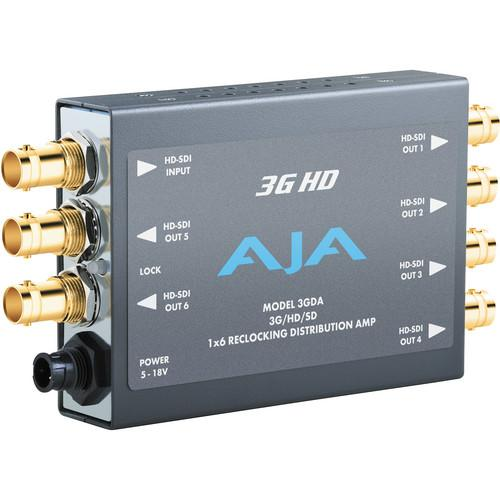 AJA 3GDA 1x6 3G/HD/SD-SDI Re-Clocking Distribution Amp 3GDA