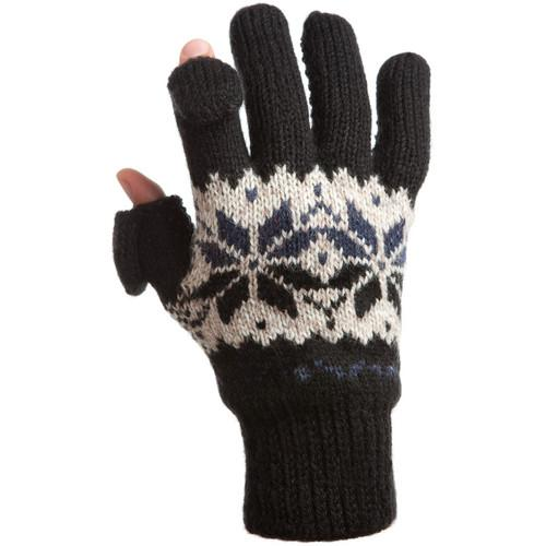 Freehands Women's Rag-Wool Gloves (Large/X-Large, Black) 31201LM