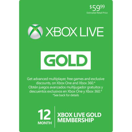 Microsoft Xbox Live 12-Month Gold Membership Card 52M-00339