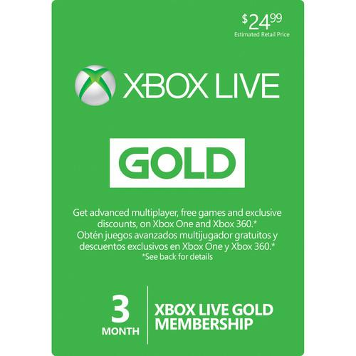 Microsoft Xbox Live 3-Month Gold Membership Card 52K-00153