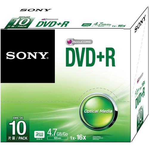 Sony DVD R 4.7GB Recordable Media Slim Case 10DPR47SS/US