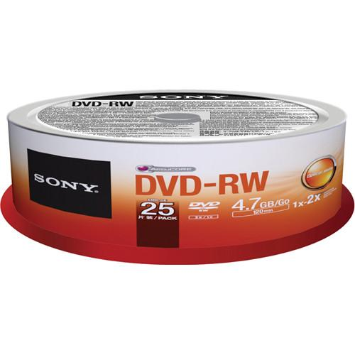 Sony DVD-RW 4.7GB Recordable Media Spindle (25 Discs) 25DMW47SPM