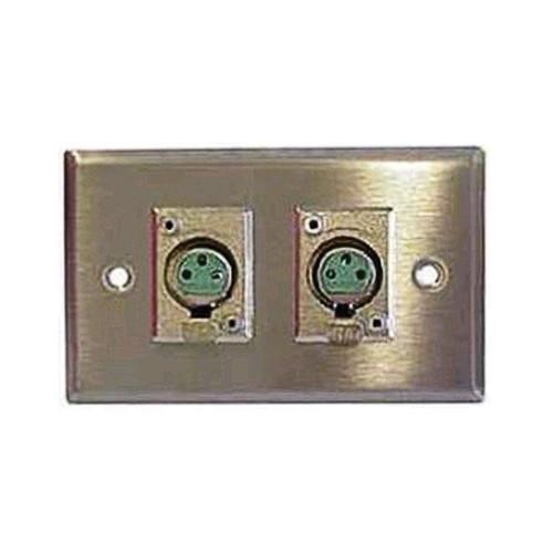 Switchcraft K3FS 1-Gang XLR Wall Plate with 2 Preloaded 22F1032