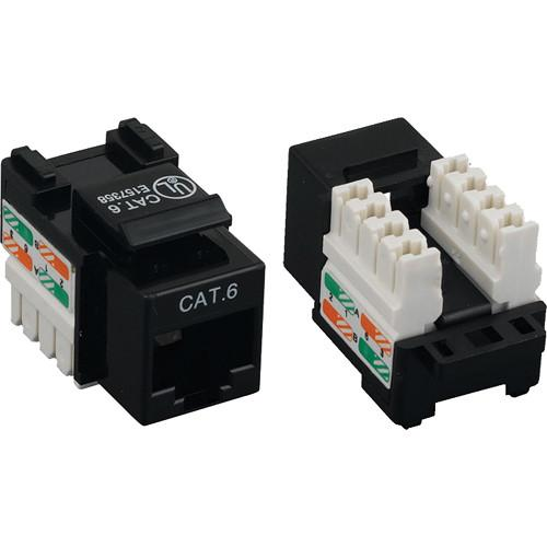 Tera Grand CAT6 Punch-Down Keystone Jack (Black) KEYJ-CAT6PD-BK