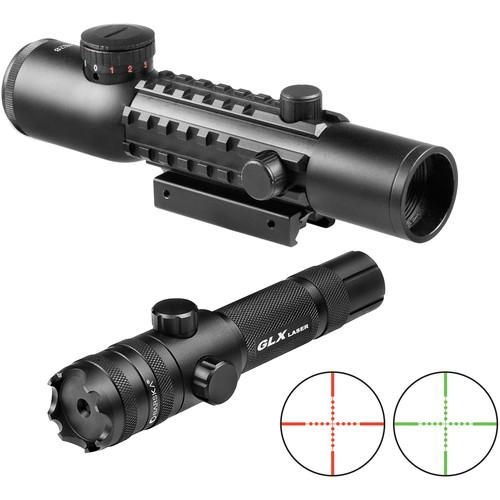 Barska 4X28 IR Electro Sight Multi-Rail Green Laser Combo