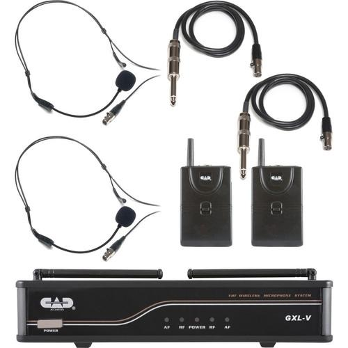CAD VHF Dual Channel 2 Bodypack Wireless Microphone and GXLVBB-H
