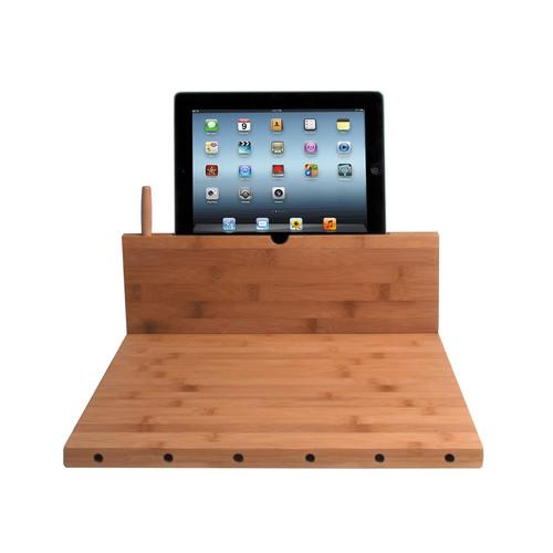 CTA Digital Bamboo Cutting Board with Tablet Stand PAD-BCBS