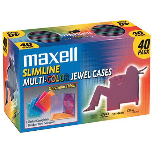 Maxell Slimline Multi-Color Jewel Cases for CDs & 190076