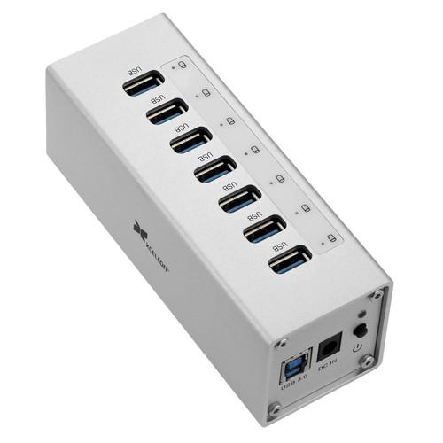 Xcellon 7-Port Powered USB 3.0 Aluminum Hub (Silver) USB-7PHSV2