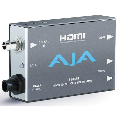 AJA HI5FIBER HD/SD-SDI Over Fiber to HDMI Video and HI5-FIBER