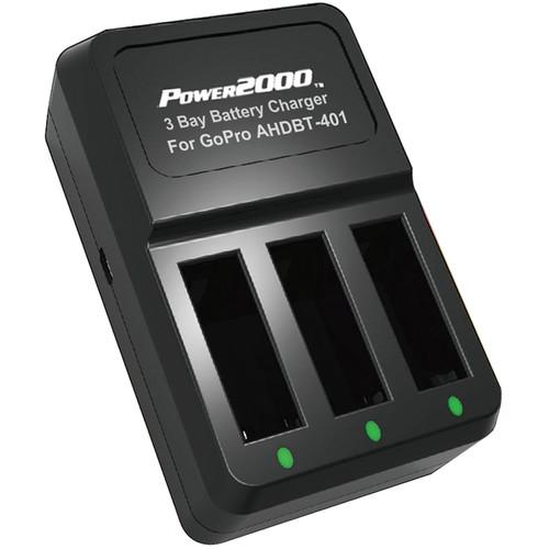 Power2000 3-Bay Battery Charger for GoPro HERO4 AHDBT-401 PT-G4