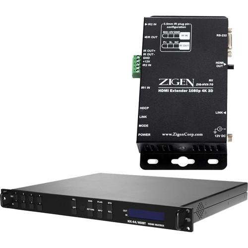 Zigen 4x4 Fixed HDMI HDbaseT Matrix Routing ZIG-HX44-HDBT70M