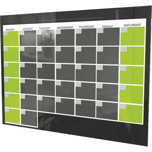 Balt Black Magnetic Glass Dry Erase Monthly Calendar 84110